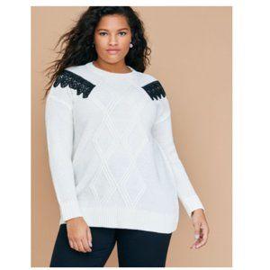 Lane Bryant white cableknit sweater